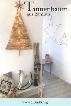 DIY: Alternativen und nachhaltigen Weihnachtsbaum basteln aus Bambus - Chalet8 Little Lizard, Christmas Crafts, Xmas, Ladder Decor, Advent, Origami, Crafty, Home Decor, Diana
