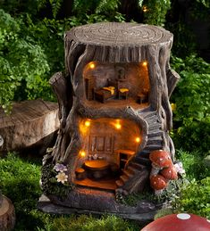 Two-Story Lighted Fairy House in Fairies Dragons and Fantasy Home in a Stump Home for Fairies Outdoor Decoration