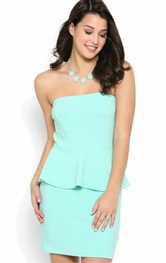 Deb Shops Strapless Peplum Dress with Texture Knit Fabric $35.00