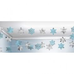 Silver & Blue Snowflake Christmas Decoration String - 100ft in Home & Garden, Parties, Occasions, Balloons, Decorations | eBay