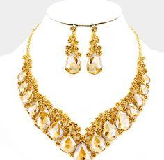 Topaz Crystal Necklace and Bracelet Set