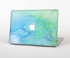 The Subtle Green & Blue Watercolor Skin Set for the Apple MacBook Pro 15 with Retina Display - Apple Computer Laptop - Ideas of Apple Computer Laptop - Apple Macbook Pro, Macbook Pro Tips, Apple Laptop, Macbook Skin, Macbook Case, Mac Laptop, Laptop Computers, Computer Laptop, Apple Computers