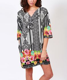 Another great find on #zulily! Black & White Baroque V-Neck Dress by Isle #zulilyfinds