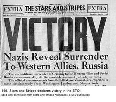 this is a newspaper headline stating that the allied forces have victoriously defeated the nazi party