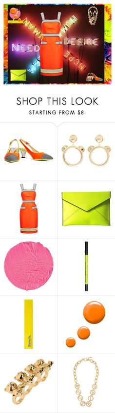"""""""Neon Victim"""" by sereneowl ❤ liked on Polyvore featuring Moschino, Rebecca Minkoff, Givenchy, Urban Decay, Bench and Topshop"""