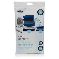 Dramatically reduce the space required to store clothing, curtains and cushions, and protect from damp, dust, mites and moisture with Wilko's Vacuum-Sealed  Storage Bags. Each featuring an easy-slide zip seal, the storage bags can create up to four times more space. Each pack  contains two bags –one medium  (70cmx40cm), one small (60cmx38cm). They should not be stored near heat sources. Items should be removed for airing every six months. Not suitable for  feather- or down-filled items…