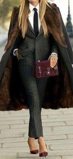 women's office style: classic suit heels