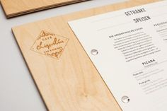 * cool wood menu holder Cafe Chiquilin - Art Nouveau Inspired Branding