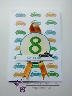 Vroom happy birthday, Little boy card with cars background Happy Birthday Little Boy, Happy Birthday Photos, Boy Birthday, Birthday Cards, Diy Gift Box, Birthday Numbers, Kids Cards, Little Boys, Stampin Up