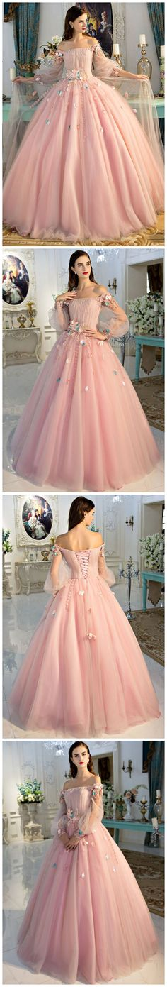 2017 A-line Princess Blush Pink Fairy Tale Prom Dresses , Floor Length Dresses ASD26845 #blushpink #princess #tulleskirt #appliques