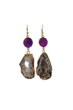 • Beautiful 24k gold electroplated agate slice earrings featuring bezel amethyst stones •