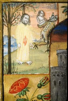 Lyon, Bibliothèque municipale, 5999 f.54v (the devil carrying off the soul of Judas). Book of Hours. c.1490-1500.