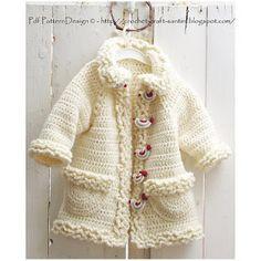 toller Kindermantel --- Ravelry: Winter White Sophie Coat with Bird-Buttons, for Toddler girls and Kids. Crochet pattern by Ingunn Santini Crochet Birds, Crochet Buttons, Crochet For Kids, Crochet Winter, Crochet Coat, Crochet Cardigan, Crochet Hooks, Cardigan Pattern, Cardigan Bebe