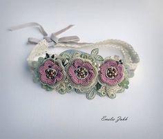 Headband jewelry hair crochet,pink flowers hair accessory Boho crochet headband, hair jewelry headband. Hair accessories bandage.