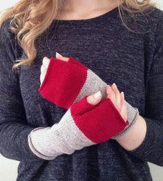 Colorblock Knit Fingerless Mittens
