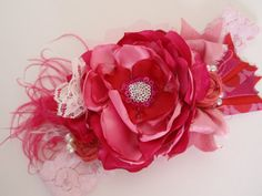 Valentine Headband Hot Pink and Red Oversized by AldonasBoutique, $28.95