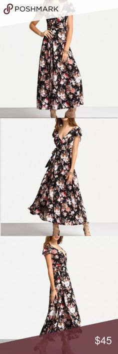 Floral lace up back maxi dress Short sleeved floral maxi dress.                       It has a v-neck line.                                   Hallowed v back with lace up detailing. Polyester underlining.                                        Tie around waist line.                               Relaxed fitted bottom.                                 Maxi overlay is made from great quality rayon and polyester. stylngopashion Dresses Maxi