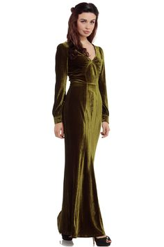 Voodoo Vixen Olive Green Dress | Plush Velvet 50s V-Neck Retro Dress | Free P&P