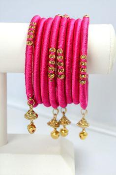 BOHO jewelry Indian silk thread Bangle Pink Gold Fuchsia