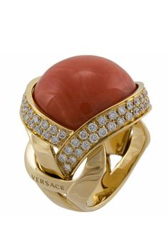Versace Yellow Gold Elegance, Diamond & Coral Ring. Oh Versace...don't do this to me.