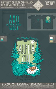 Alpha Chi Omega new member retreat! #BUonYOU #greek #greektshirts #greekshirts #sorority #AlphaChiOmega #newmemberretreat #camping University Of South Carolina, Alpha Chi Omega, Greek Apparel, Greek Clothing, Greek Life, Comfort Colors, Clothing Company, Custom Clothes, Screen Printing
