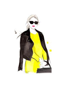 Original watercolor fashion illustration by Jessica Durrant titled, Black Meets Yellow