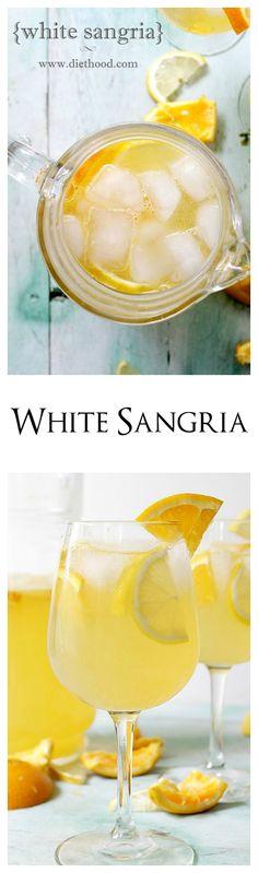 Fresh and fruity White Sangria made with white wine, triple sec, fresh orange juice and lemon juice. (fun drinks alcohol triple sec) Fun Cocktails, Party Drinks, Wine Drinks, Cocktail Drinks, Alcoholic Drinks, Beverages, Bartender Drinks, Drinks Alcohol, Milk Shakes