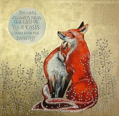 Foxes amongst the honesty seeds. With words by Keats. #poetry #golden #watercolour #foxart #foxes #love #foxillustration #samcannonart Fuchs Illustration, Sam Cannon, Anniversary Greeting Cards, Cool Artwork, Amazing Artwork, Fox Art, Card Reading, Colored Pencils, Moose Art