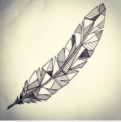 Geometric Zentangle feather
