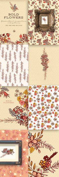 Bold Flowers - floral cliparts and patterns for web, print, wall art, buy on @creative