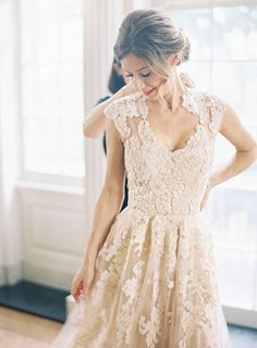 A line Nude Pink Cap Sleeves Tulle Lace di DreamDressOnline, $249.99