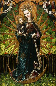 Madonna in hortus conclusus (enclosed garden) by Anonymous from Lesser Poland, ca. 1460-1470 (PD-art/old), Kościół Nawiedzenia Najświętszej Marii Panny w Paczółtowicach