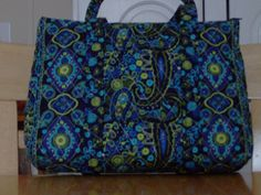 Navy Lime Green Light Blue Paisley Print Quilted by RoxannasBags, $40.00