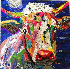 karlaschuster Collages, Graffiti, Paper Collage Art, Magazine Collage, Cow Painting, Cow Art, Animal Quilts, Torn Paper, Arte Pop