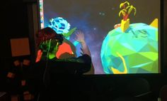 """Outerspace Composer"" - players enjoy the ""hands of God""; they can compose cosmic electronic music in outer space. Leap Motion and Oculus Rift. Team: Zhen Cao, Wenbo Lan, Hao Jiang"