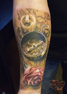 3D Compass with rose and candle tattoo - 100 Awesome Compass Tattoo Designs