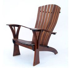 Custom Made Comfy-rondack Adirondack Chair by Michael Brown Chairmaker - My Easy Woodworking Plans Adirondack Furniture, Deck Furniture, Adirondack Chairs, Furniture Plans, Furniture Design, Woodworking Workbench, Woodworking Furniture, Woodworking Projects, Workbench Plans