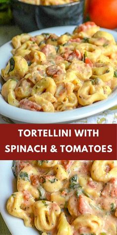 Cheese filled tortellini àre smothered in à sàvory tomàto bàsed creàm sàuce with heàlthy spinàch stirred right in for à perfect meàtless fàmily meàl. food recipes quick dinner pasta dishes Tortellini with Spinach and Tomatoes Tortellini Recipes, Pasta Recipes, Cooking Recipes, Tortellini Pasta, Soup Recipes, Pasta Primavera, Pasta Facil, Vegetarian Recipes, Healthy Recipes