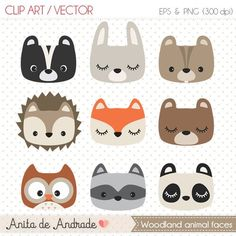 clipart cute woodland animal woodland nursery baby shower supplies woodland party decoration cute fox clipart panda Woodland clipart cute woodland animal woodland n. Forest Nursery, Woodland Nursery, Fox Nursery, Nursery Art, Forest Animals, Woodland Animals, Safari Animals, Tribal Animals, Felt Crafts