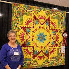 Glacier Star designed by Quiltworx.com, made by Sue Elliot.  Second Place in the Large Pieced Wall Hanging category at the 2015 St. Andrew Bay Quilters' Guild Show.