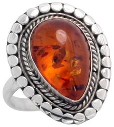"""Sterling Silver Bali Style Ring, w/ 15 x 10 Pear Cabochon Russian Baltic Amber Stone, 7/8"""" (22mm) wide, size 7"""