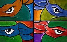 Canvas Art Ideas For Teens Bedrooms Ideas Ninja Turtle Room, Ninja Turtle Drawing, Ninja Turtles Art, Mini Canvas Art, Diy Canvas, Michelangelo Turtle, Michelangelo Paintings, Art Ideas For Teens, Turtle Birthday Parties