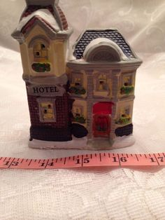 "Christmas Village Hotel 3 1/2"" Wide By 4 1/2"" Tall Ceramic"