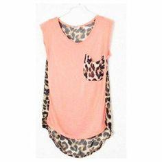 Hi,Showme — Leopard Patchwork Sleeveless Chiffon Blouse on Wanelo