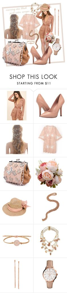 """morning star blush pink satin romper"" by caroline-buster-brown ❤ liked on Polyvore featuring LULUS, Charles by Charles David, CA4LA, Carolina Bucci, FOSSIL, Rosantica, Lana and romper"