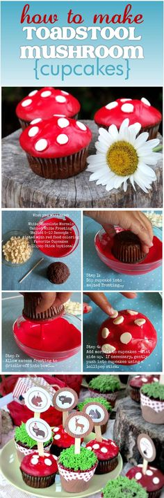 We used these easy steps to make whimsical Toadstool cupcakes for a Backyard Woodland themed party, styled by Cupcake Wishes & Birthday Dreams. Visit for more ideas: http://cupcakewishesandbirthdaydreams.blogspot.com/2012/07/mg-party-impressions-backyard-woodland.html