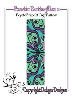 Exotic Butterflies 2 - Beaded Peyote Bracelet Cuff Pattern | DebgerDesigns - Patterns on ArtFire