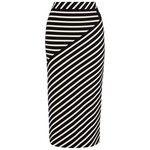 Karen Millen Stripe Jersey Skirt, White/Black