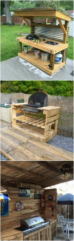 Upcycled Pallet Outdoor Grill #palletoutdoorfurniture