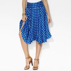 Polka-Dot Silk Skirt - Lauren Short Skirts - RalphLauren.com
